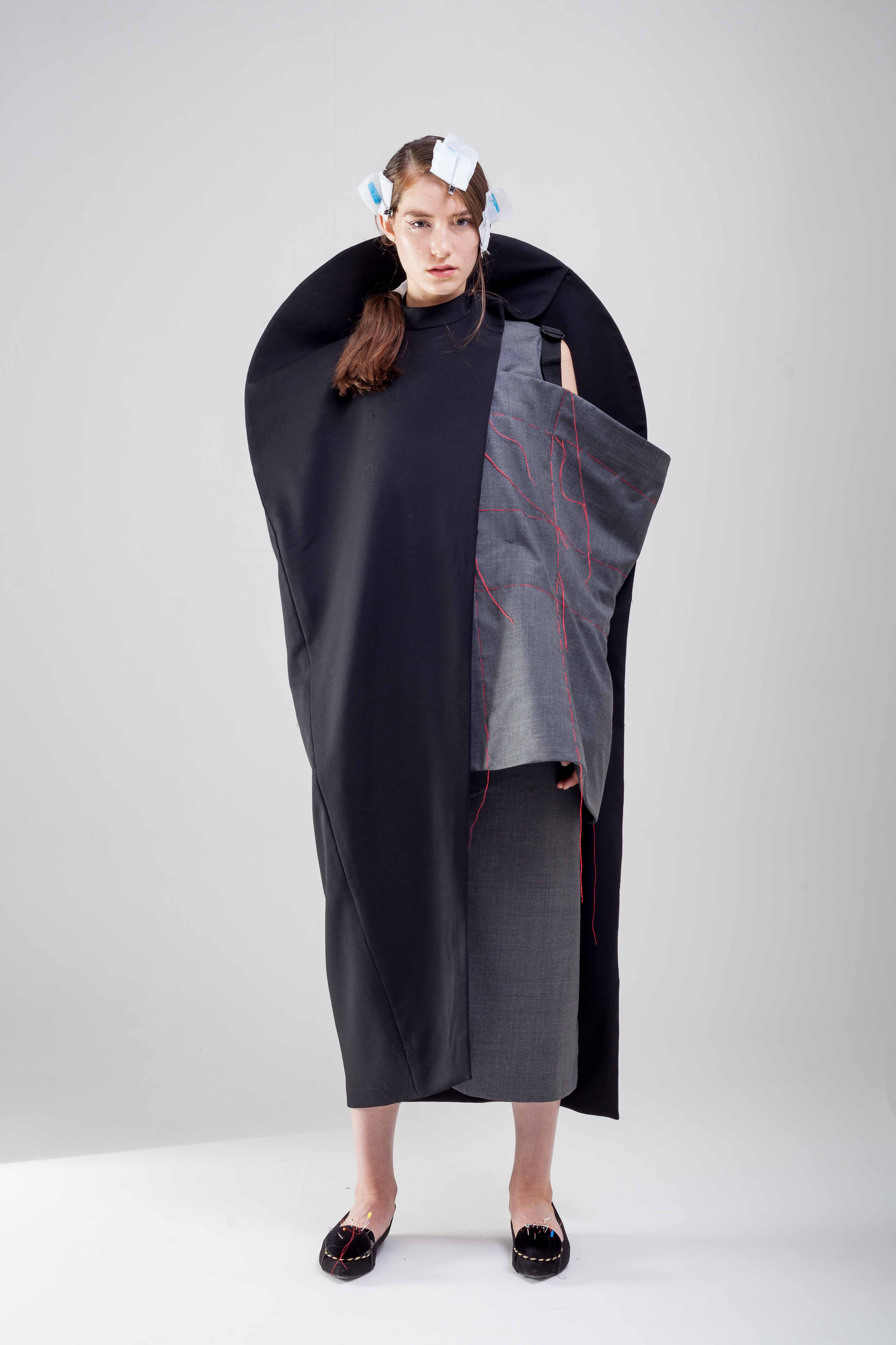 100% Wool Diagonal Line Cape