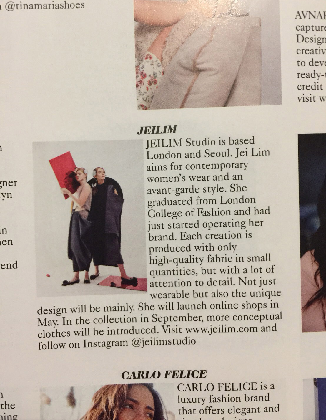 JEILIM was published in a UK VOGUE magazine